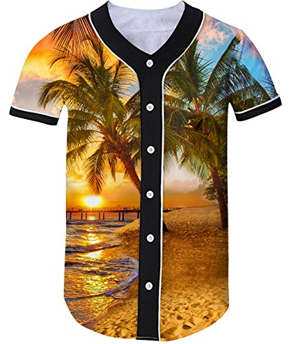 Tree Graphic - Idgreatim Men Coconut Tree Graphic Hawaii Style Baseball Short Sleeve T Shirt Jersey Tees M