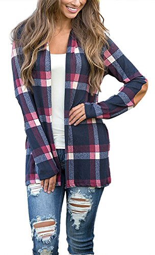 KAY SINN Womens Plaid Print Long Sleeve Open Front Cardigan Sweater Casual Outwear 2X-Large Deep (Cashmere Kimono Sleeve Sweater)