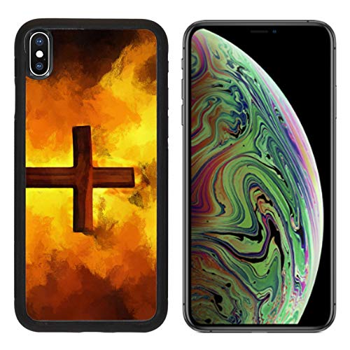 MSD Apple iPhone Xs MAX Case Aluminum Backplate Bumper Snap Case Image ID: 8501943 Flaming Cross Christian Art Vector