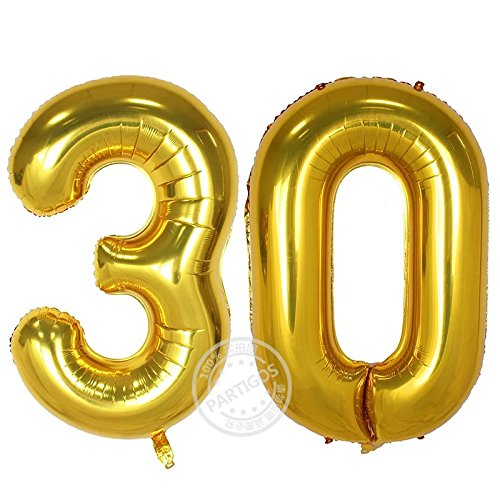 Partigos 40inch 30th Gold Number balloon Party Festival Decorations Jumbo foil helium balloons party supplies use them as Props for Photos (40inch gold number (30 Birthday Party Decorations)