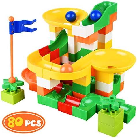 Bheddi Marble Run 80PCS Marble Runs Toy for Kids DIY Building Blocks Marble Runs Fun Educational Toys for 4 5 6 Years Old Boys Girls Gift
