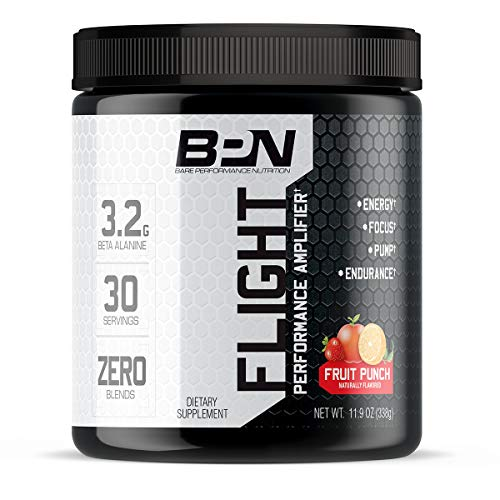 Bare Performance Nutrition, Flight Pre Workout, Energy, Focus & Endurance, Formulated with Caffeine Anhydrous, DiCaffeine Malate, N-Acetyl Tyrosine (30 Servings, Fruit Punch)