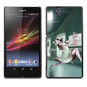 Be Good Phone Accessory // Dura Cáscara cubierta Protectora Caso Carcasa Funda de Protección para Sony Xperia Z L36H C6602 C6603 C6606 C6616 // Animal Testing Lab Cute Bunny White