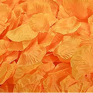 1000 Pieces/Lot Silk Really Touch Artificial Rose Petal Leaves for Wedding Decoration Leaf Decorative Wreath Fake Flowers,Orange 2