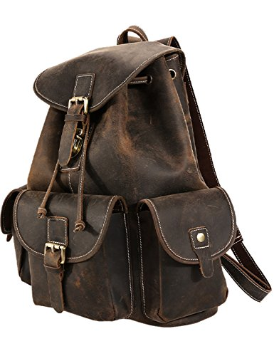 Menschwear Men's Genuine Leather Rucksack Dark-Brown by Menschwear