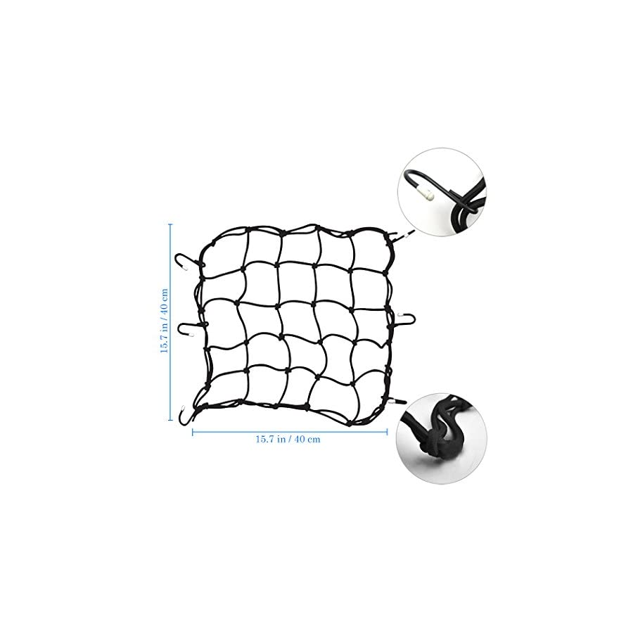 "Creatiee 3Pcs Luggage Cargo Net, 15'' Elastic Net Pocket with 6 Rubber Tipped Metal Hooks & Tight 3""x 3"" Mesh for Motorcycle ATV Bike Bicycle"