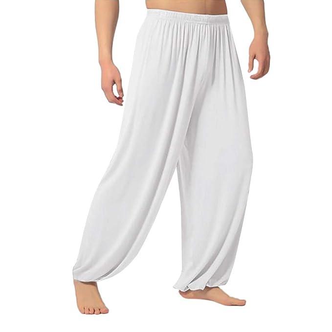 VPASS Hombre Pantalones,Pantalones Piernas Anchas Pantalones Color sólido Casual Largos Pantalones Hombre Gym Yoga Pantalones Leggings Cintura Alta ...