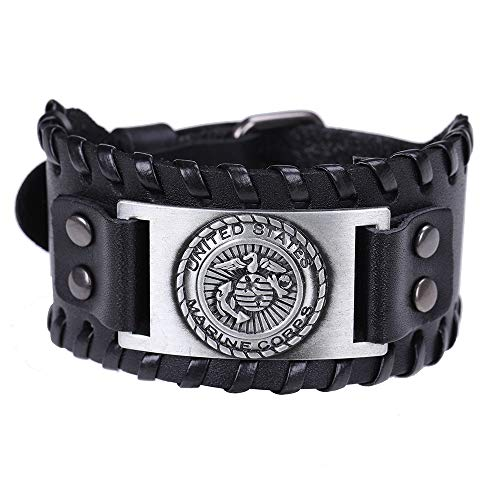 TEAMER Marine Corps Metal Weave Leather Bracelet Seagull Anchor Bangle Gift for Men Sailor (Antique Silver)