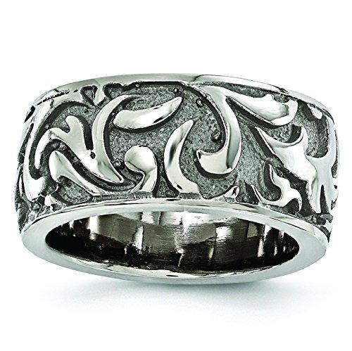 Diamond2Deal Edward Mirell Titanium 11mm Miligrain Wedding Band Ring ()
