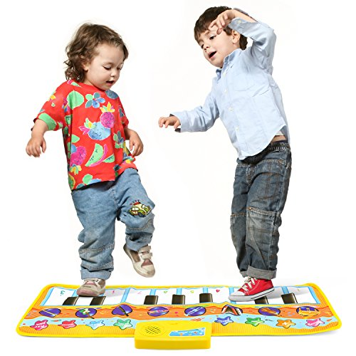 Musical Playmat - Zooawa Musical Piano Mat, Electronic Keyboard Instrumental Dance Blanket Toy with Play - Record - Playback - Demo Modes for Kids - Colorful