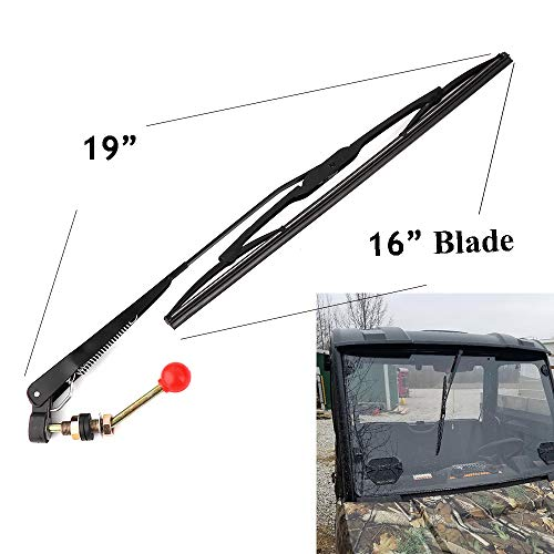 KEMIMOTO, UTV Manual Wiper Hand Operated Windshield Wiper for Polaris Ranger RZR 900 1000 (Kit Manual Installation)