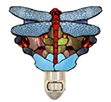 Tiffany Style Stained Glass Aqua Dragonfly Night Light