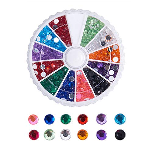 PandaHall Elite About 780Pcs 1 Box 12 Color 4mm Faceted Flat Round No Hot Fix Acrylic Rhinestones Glitter Decorations 3D Diamond Gems Cell Phone Nail -