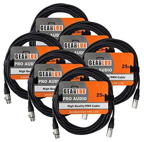 Gearlux 3-Pin DMX Cable, Black, 25 Foot - 6 Pack (Bulk Cable Dmx)