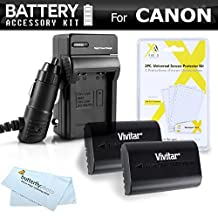 2 Pack Battery Kit For Canon EOS 7D Canon 60D, EOS 70D EOS 5D Mark III, EOS 7D Mark II, EOS 5DS, 5DS R, EOS 80D DSLR Includes 2 Extended Replacement LP-E6 (2000mAH) Battery (with Info-Chip!) + Charger ++