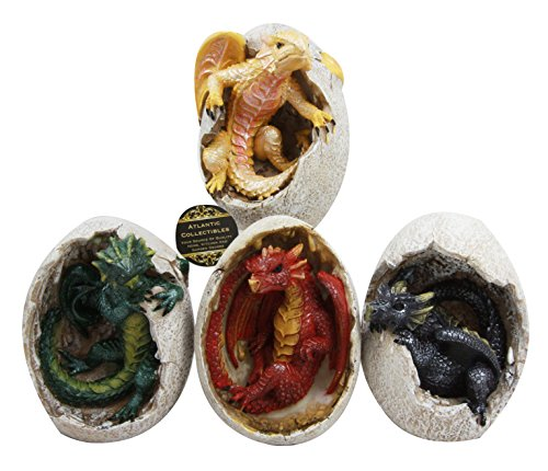 Atlantic Collectibles Fossil Red Yellow Purple Green Elemental Dragon Hatchlings Breaking Out Of Egg Shell Decorative Figurine Set of 4