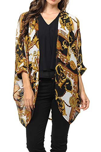 (Auliné Collection Womens USA Made Casual Cover Up Cape Gown Robe Cardigan Kimono SLFBW1 Baroque Black XL)