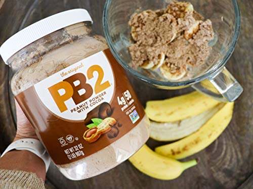 PB2 Powdered Chocolate Peanut Butter with Cocoa - 4g of Protein, 90% Less Fat, Certified Gluten Free, Only 50 Calories per Serving for Shakes, Smoothies, Low-Carb, Keto Diets [2 Lb/32oz Jar] (32oz) 4