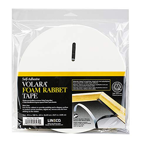 Golden State ArtLineco Lineco Black Volara .0313'' Thick Foam Rabbet Tape. Acrylic Adhesive for Lining Frame Rabbets. Protects Canvas Transfers, Digital Media, and Art.25'' Wide 36 Yards. 018-1436