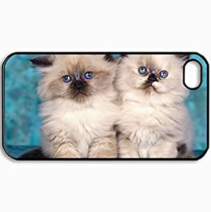 Customized Cellphone Case Back Cover For iPhone 4 4S, Protective Hardshell Case Personalized Cats Cool Cute Cats Black