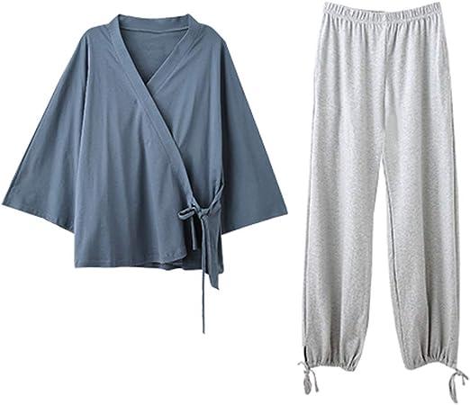 Pijama de Mujer Traje de algodón clásico Nightclothes Conjunto de manga larga pantalones de algodón pijamas