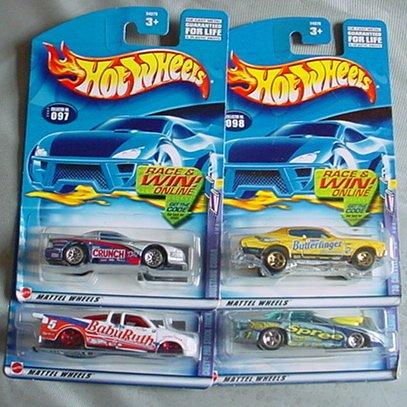 (Hot Wheels 2002 Sweet Rides Series COMPLETE SET Mustang Cobra, Chevy Pro Stock Truck, '70 Chevelle SS, Pro Stock Firebird)