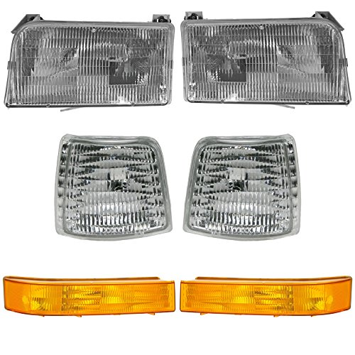 Ford Bronco Truck Headlight (Headlights & Parking Corner Lights Left & Right Pair Set for Ford Truck Bronco)