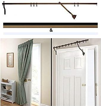 Door Curtain Pole - Black Rising Portiere Rod 42