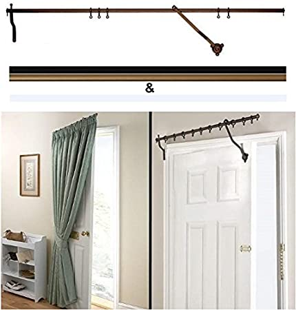 Door Curtain Pole Bronze Rising Portiere Rod 42 106cm Long By
