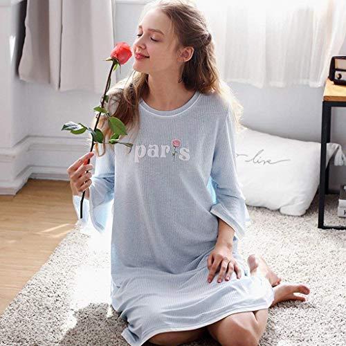 Mujer Cuello Dormir bow Larga Camisón Colour Impresión Carta Bastante Pijamas Casual Manga Camisones Tie De Redondo Vestido Otoño rSrvqXwgx