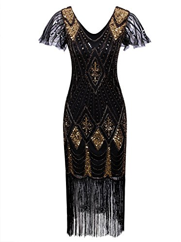 Vijiv Women Vintage Style 1920s Dresses Inspired Beaded Cocktail Flapper Dress With Sleeves For Prom Gatsby Party,Black Gold,X-Large