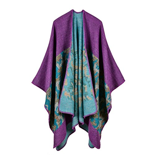 Bakerdani Women's Winter Wrap Blanket Poncho Cape Shawl Cardigans Sweater Coat - Knit Ruana Pattern