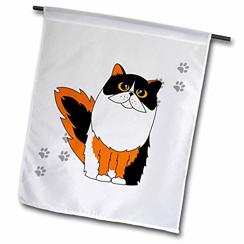 3dRose fl_6110_1 Calico Long-Haired/Persian Cat White Paw-Print, Garden Flag, 12 by 18-Inch Art Com Persian Print