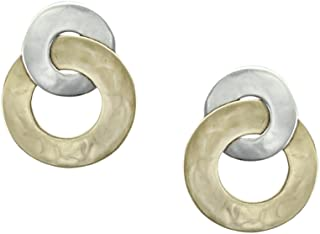 product image for Marjorie Baer Intertwined Wide Ring Clip on Earring in Brass and Silver