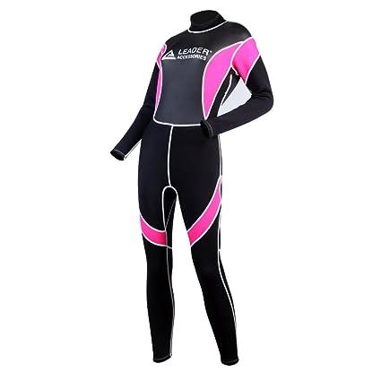Leader Accessories Women s Wetsuit 2.5mm Black Pink Fullsuit Jumpsuit  Wetsuit(Small) 6f184271c