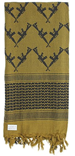 Premium Heavyweight Shemagh Scarf with ARMY UNIVERSE Pin - Crossed Rifles Coyote Brown & Black