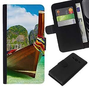 Planetar® Modelo colorido cuero carpeta tirón caso cubierta piel Holster Funda protección Para Samsung Galaxy A3 / SM-A300 ( Tropical Sea Summer Sun Travel )