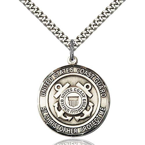 Sterling Silver COAST GUARD/ST. CHRISTOPHER Pendant 1 x 7/8 inches with Heavy Curb Chain