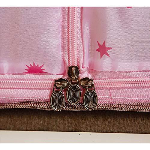 Mosquito Net Bed Canopy Yurt Bed Type Two-Door Zipper Net Tent Bracket Heightening Anti-Mosquito Indoor/Outdoor Decorative Height 150CM,Pink,120200CM by LINLIN MOSQUITO NET (Image #4)