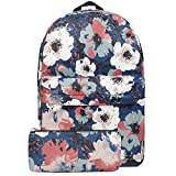 FITMYFAVO Backpack Bookbag | Daypack Travel Bag Peony with Wallet Plum Blossom Set