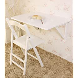 Haotian Wall-mounted Drop-leaf Table, Folding Dining Table Desk, Solid Wood Table, 75cm(29.5in)×60cm(23.6in) - White, FWT05-W