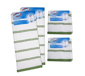 Clorox 6-Piece Kitchen Dishcloth/Towel Set White with Green Accents