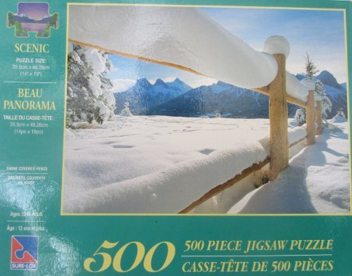 Snow Covered Fence - Sure Lox; Scenic Snow Covered Fence 500 Piece Jigsaw Puzzle