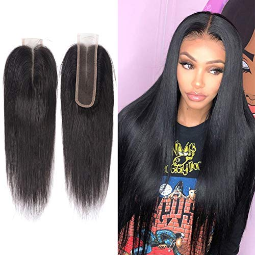 Mothers' Day Gift Human Hair Lace Kim K 26 Closure Straight Human Hair Middle Part Frontal Lace Closure Peruvian Closures 6-18 Inch Natural Color Virgin Hair 10inch -