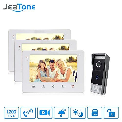 Jeatone Video Intercom Doorbell Camera System Ring Video Doorbell with 2-way Talk 2V1 1200TVL CMOS Sensor Monitor Unlock Speaking Record 3 Indoor Monitor 1 Camera -  US-P203B1M707W3