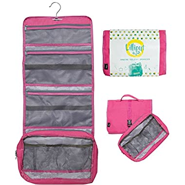 Hanging Toiletry Bag for Women, Extra Large Cosmetic & Makeup Travel Organizer Kit, YKK Zippers (Pink-Detachable Pouch)