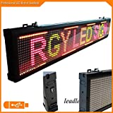 Leadleds 40x6.3 Inches USB Programmable Scrolling LED Sign Store Display Moving Message Board 3 Color Light (Red, Green, Amber) for Indoor