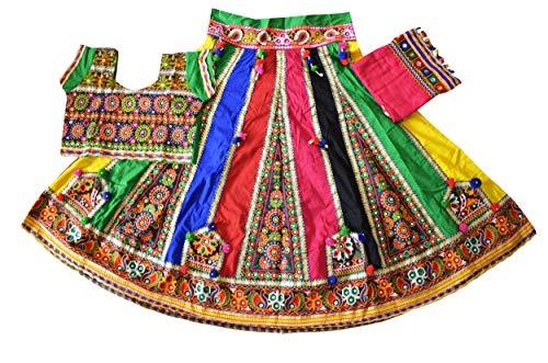 Nanda Women Cotton 2019 Multicolor Kutch Embroidered Lehenga-Bohemian Ghagra choli-Navratri Special Chaniya Choli-Festival Wear-Ready To Wear Free size ()
