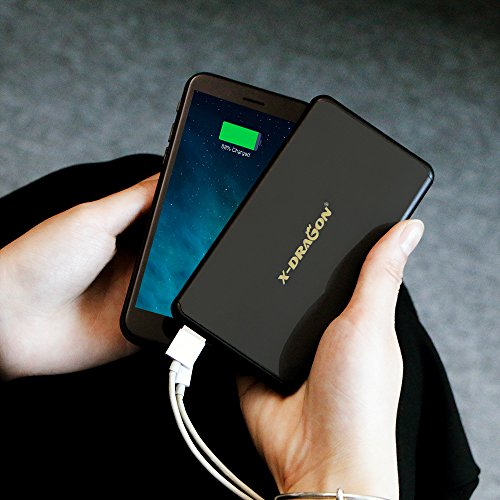 External Battery Pack X DRAGON 5000mAh seriously smal power Bank with the help of 2A insight rapidly Charging Pocket material Shell lightweight Charger for iPhone 7 6 6S Plus iPad Samsung Galaxy clever phones and Tablets Black Chargers