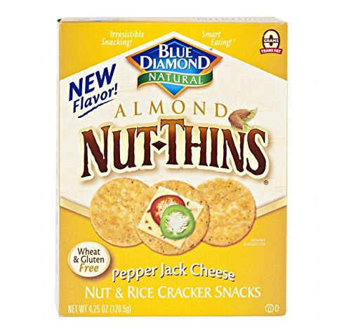 Gluten Free Almond Nut-Thins Cracker Snacks, Pepper Jack Cheese (Pack of 4 – 4.25 Oz. Boxes) by BLUE DIAMOND